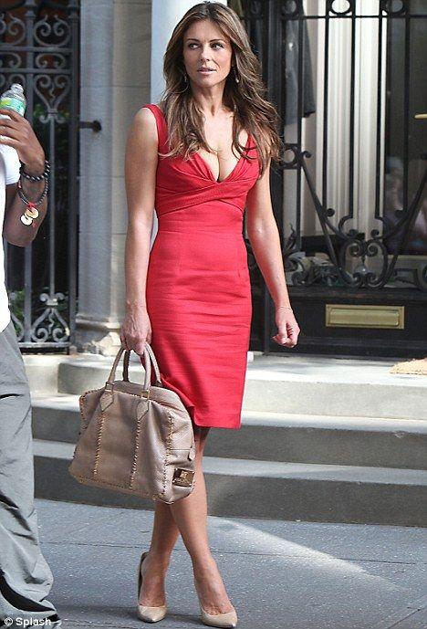 Elizabeth Hurley : In an Elegant Work Wear Red Dress