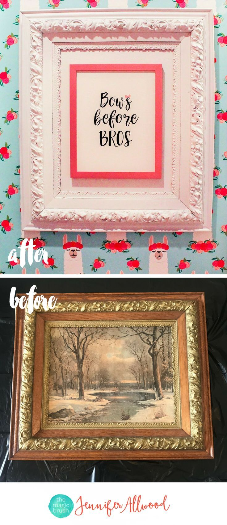 Ideas : Thrift Store Frame Makeover - How to Frame Small Art Prints to be Beautiful and Oversized by Jennifer Allwood - Repurposed Picture Frame Ideas #diy #repurposed #walldecor #girlart #upcycled #hobbylobbyfinds Girls Bathroom Art  #homedecor #bathroom
