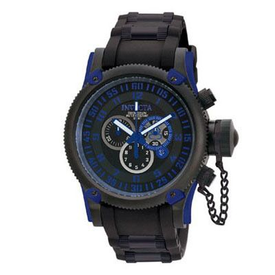 Mens 39 invicta russian diver chronograph watch with black dial model 0518 zales men for Watches zales