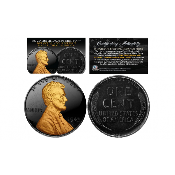 Black Ruthenium 1943 Genuine Steel Wartime Wheat Penny U S Coin With 24k Clad Lincoln Portrait Penny Mint Coins Coins