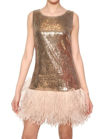 BLUGIRL - OSTRICH FEATHER SEQUIN TECHNO NET DRESS - LUISAVIAROMA - LUXURY SHOPPING WORLDWIDE SHIPPING - FLORENCE