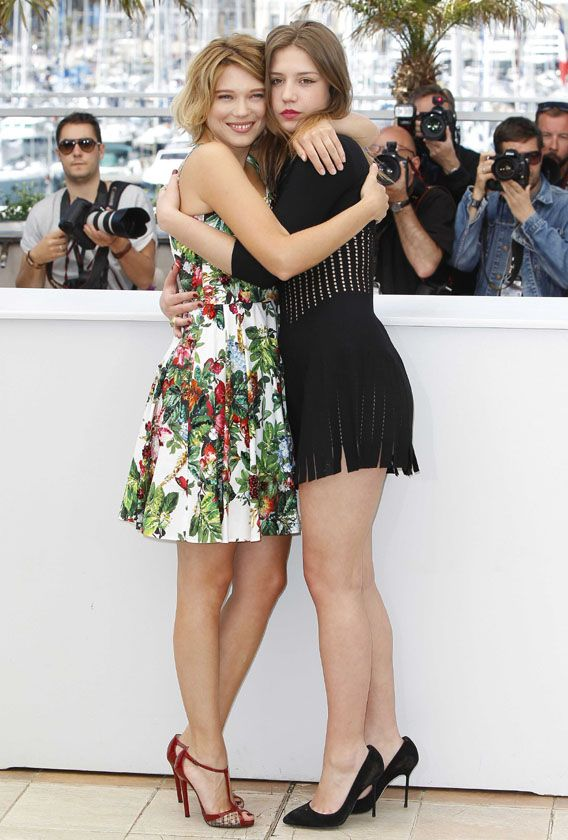 """Lea Seydoux and Adele Exarchopoulos at the """"Blue is the Warmest Color"""" photo call during the 2013 Cannes Film Festival"""