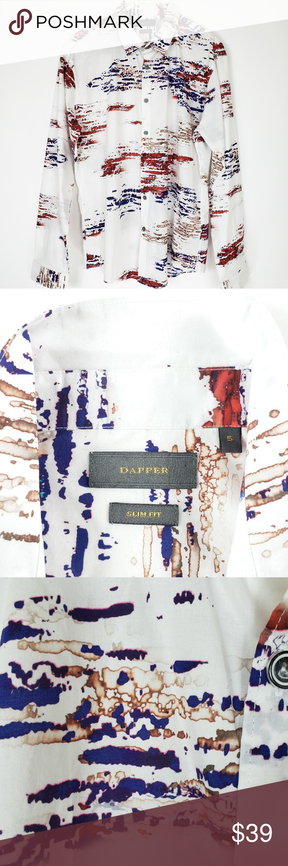 Dapper brand watercolor mens dress shirt 5 L white Dapper