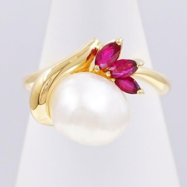 2f588ab5236ec eBay  Sponsored Jewelry 18K Yellow gold Ring 9Japan size Pearl Ruby Free  shipping Used