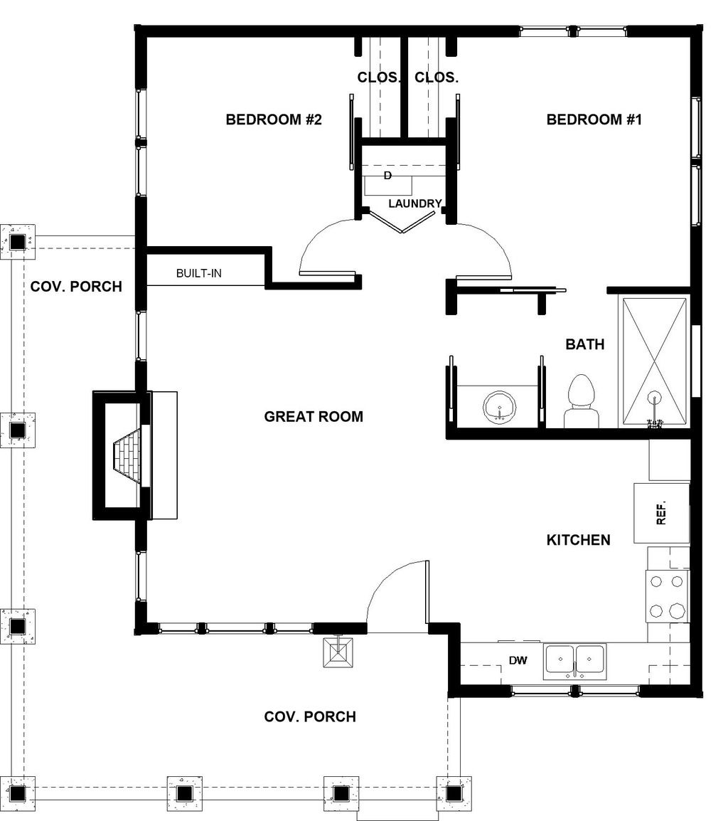 Cabin Style House Plan 2 Beds 1 Baths 824 Sq Ft Plan 895 91