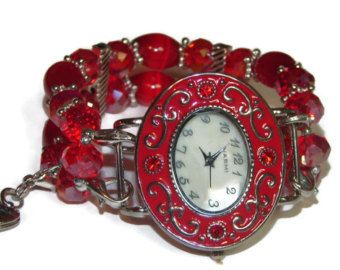 Pink and White Chunky Beaded Watch  Interchangeable by BeadsnTime