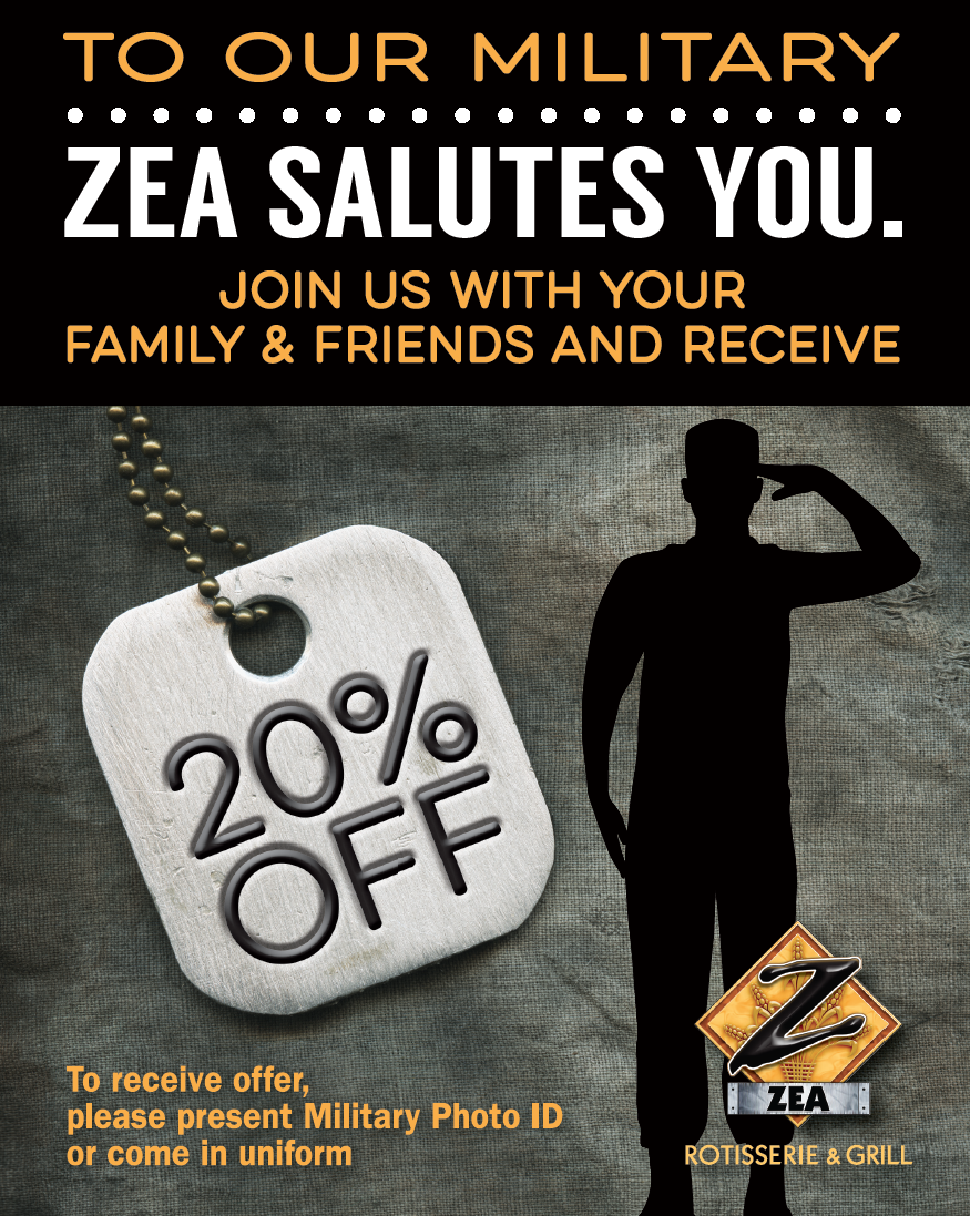 ZEA Military 20% Off Counter Sign