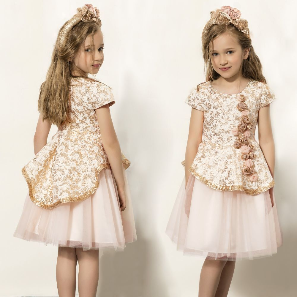 Patachou - Girls Pink   Gold Jacquard Dress  273efc9f8