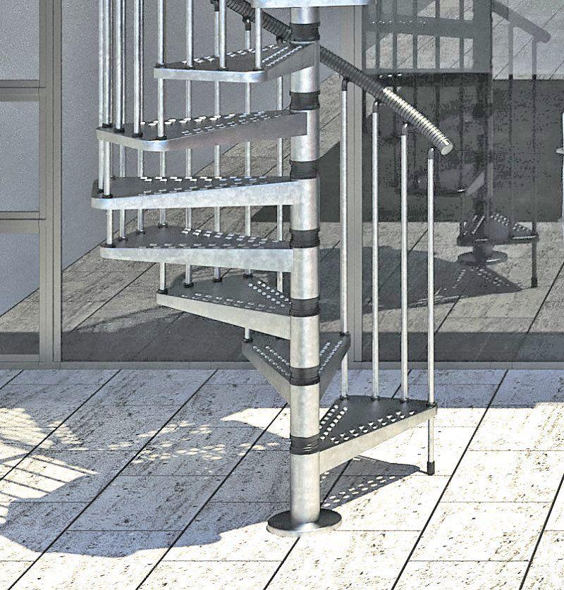 Best Gamia Zinc Exterior Spiral Staircase 1200Mm Exterior 400 x 300