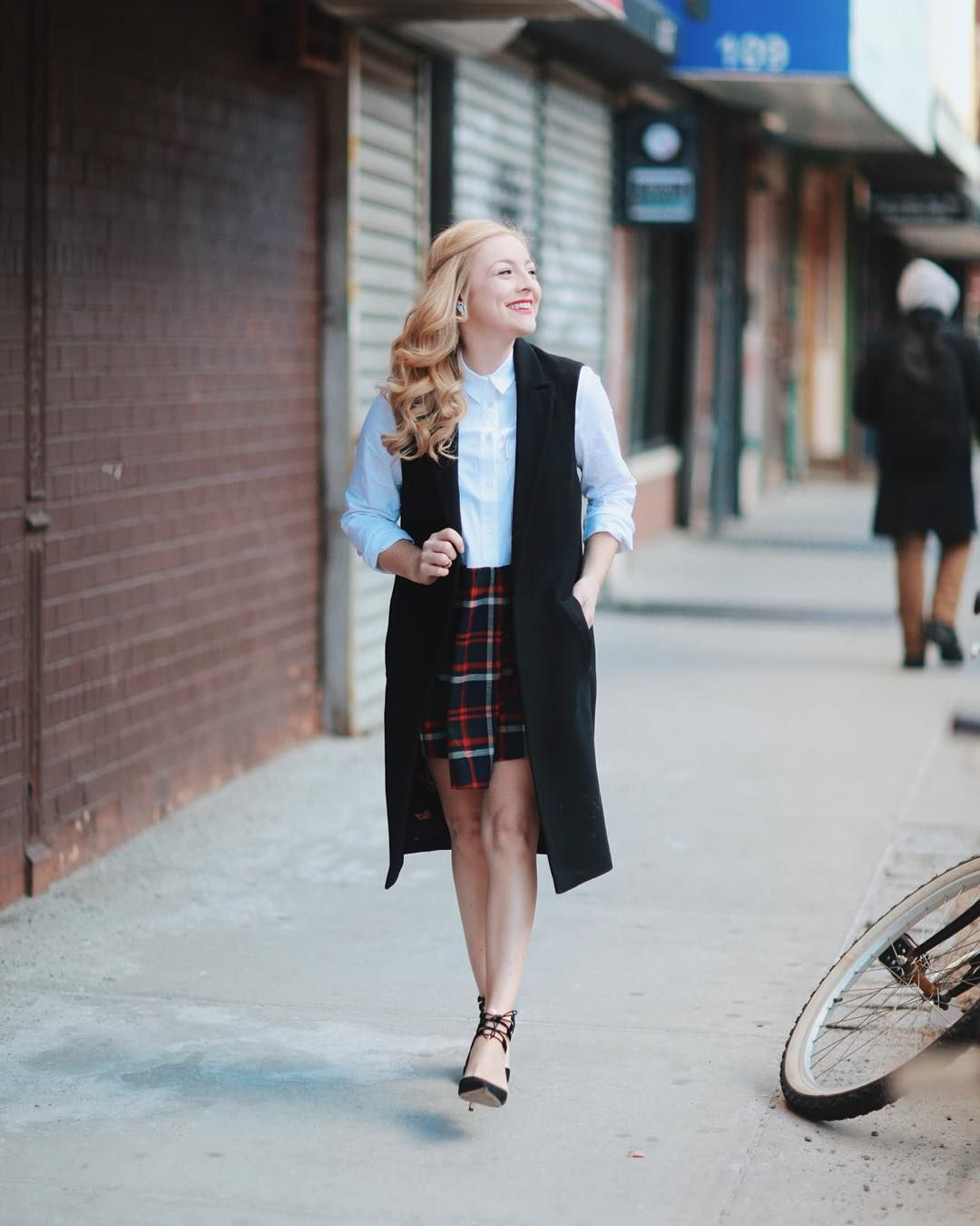 After hating wearing a catholic school uniform for so long I surprisingly love to bring back a nod to those plaid days in my outfits #schoolgirlforever  Photo: @christinaemiliephoto