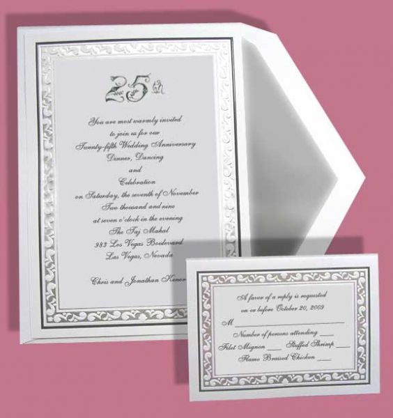 We print anniversary invitations for the 60th, 50th, 40th and 25th - print anniversary card