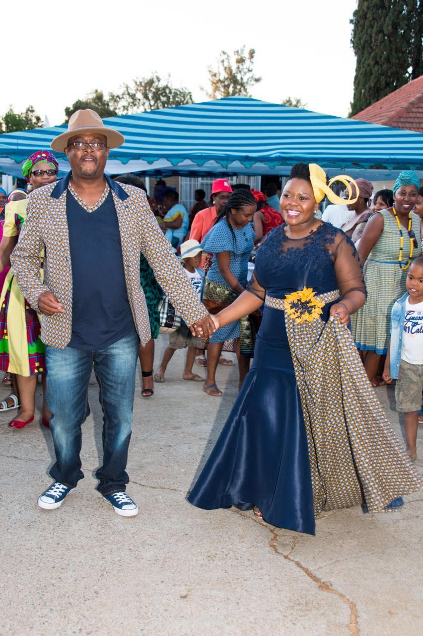 Tswana traditional dress designs 2017 styles 7 - Blue And Yellow Shweshwe Dress By Zodwa Bridals South Africa Traditional Sesotho Dress Worn By