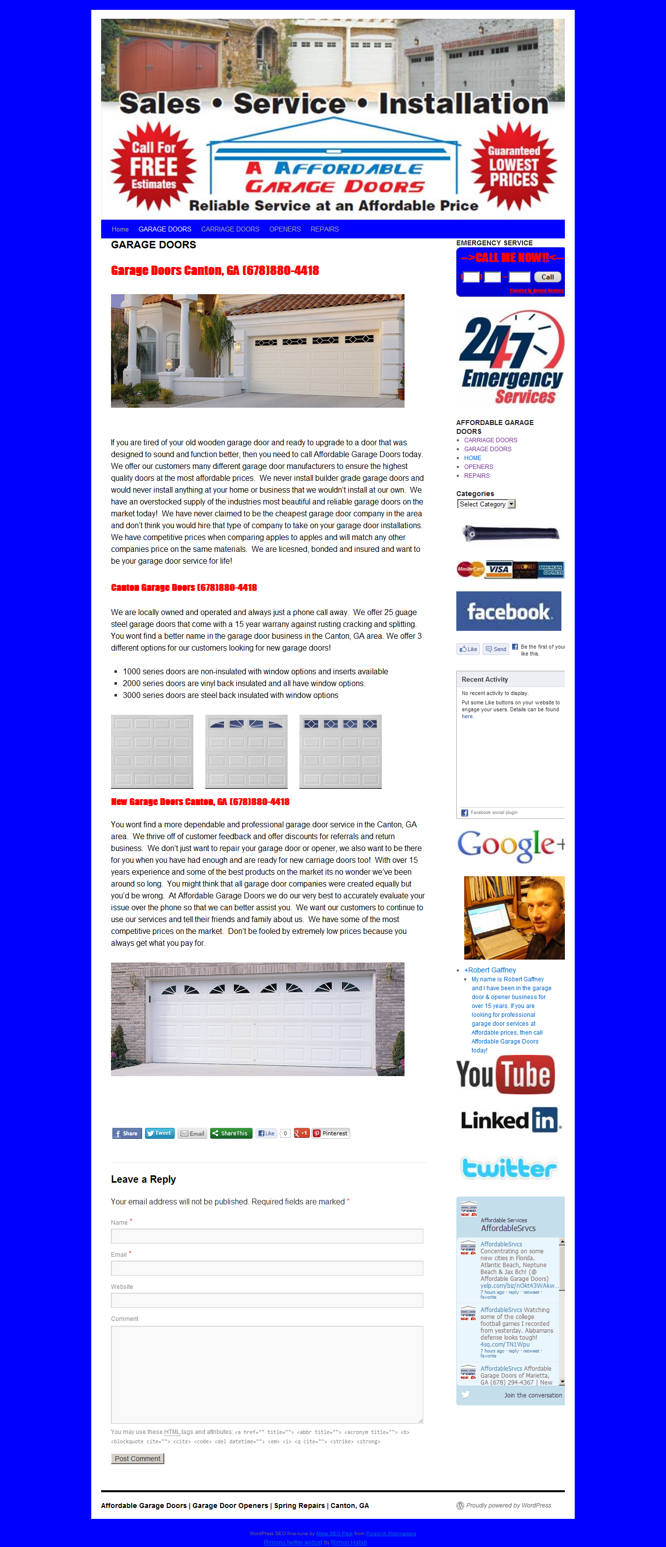 Affordable Garage Doors Have Been Proudly Providing Professional Garage Door  U0026 Opener Services For The Canton U0026 Woodstock, GA Areas For Over 15 Years U003eu003e  ...