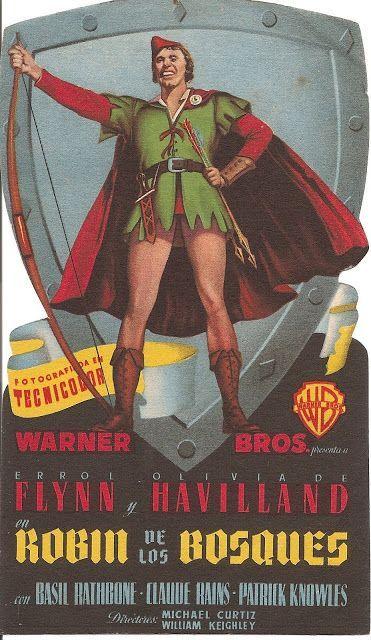 Colección De Carteles Antiguos De Cine Robin De Los Bosques 1938 Con Errol Flynn Y Olivia De Havilland Robin Hood Programa De Cine Carteleras De Cine