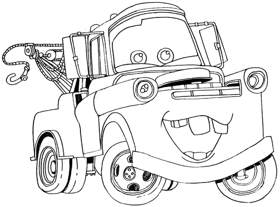 How To Draw Tow Mater From Disney Cars Movie Cars Coloring Pages Disney Coloring Pages Truck Coloring Pages