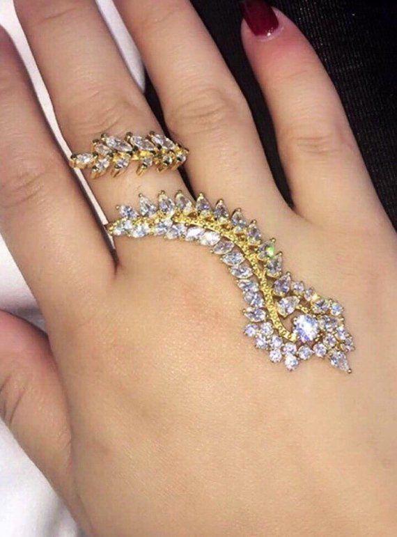 0b1252bbc85 Full Finger Ring Cubic Zirconia Long Gold Cuff Ring Mehndi, hand ...