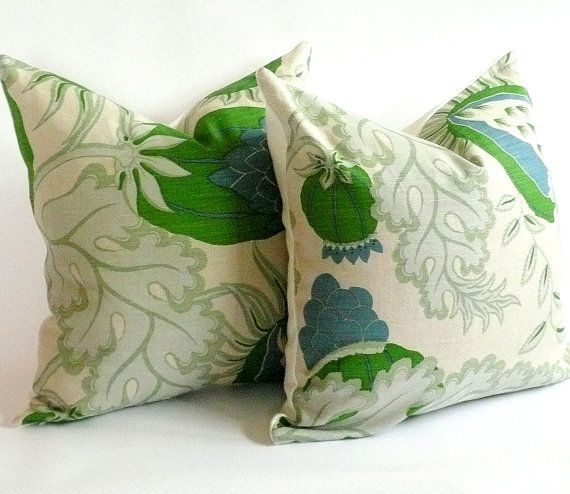 Pair of Christopher Farr Cloth Pillow Covers in Green Carnival via Etsy, great site for pillows