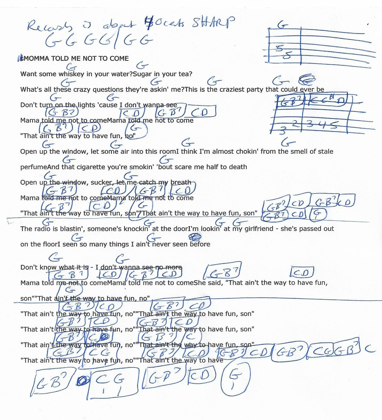 Momma Told Me Not To Come Three Dog Night Guitar Chord Chart