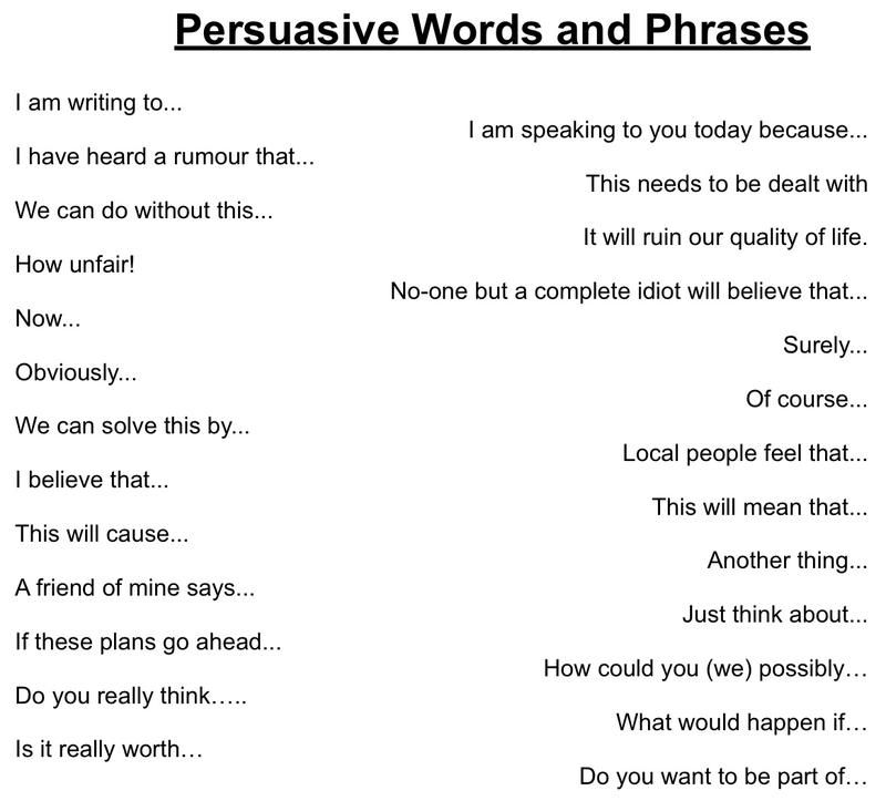 Mrs Swanda\u0027s Writing Resources - Persuasive Words and Phrases