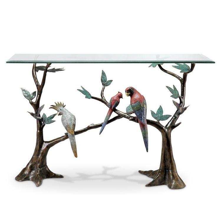 Magnificent Tropical Amazon Birds Brass/Glass Console Table,48u0027u0027L X 30u0027