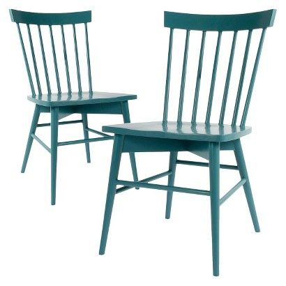 Minimalist Threshold™ Windsor Dining Chair Set of 2 great with walnut table Contemporary - Beautiful target blue chair New Design