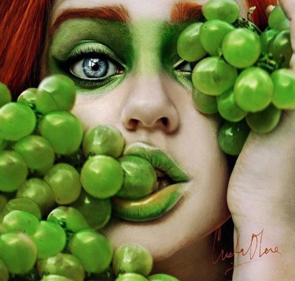 Green Grape Photo Art Makeup #green #makeup #beauty