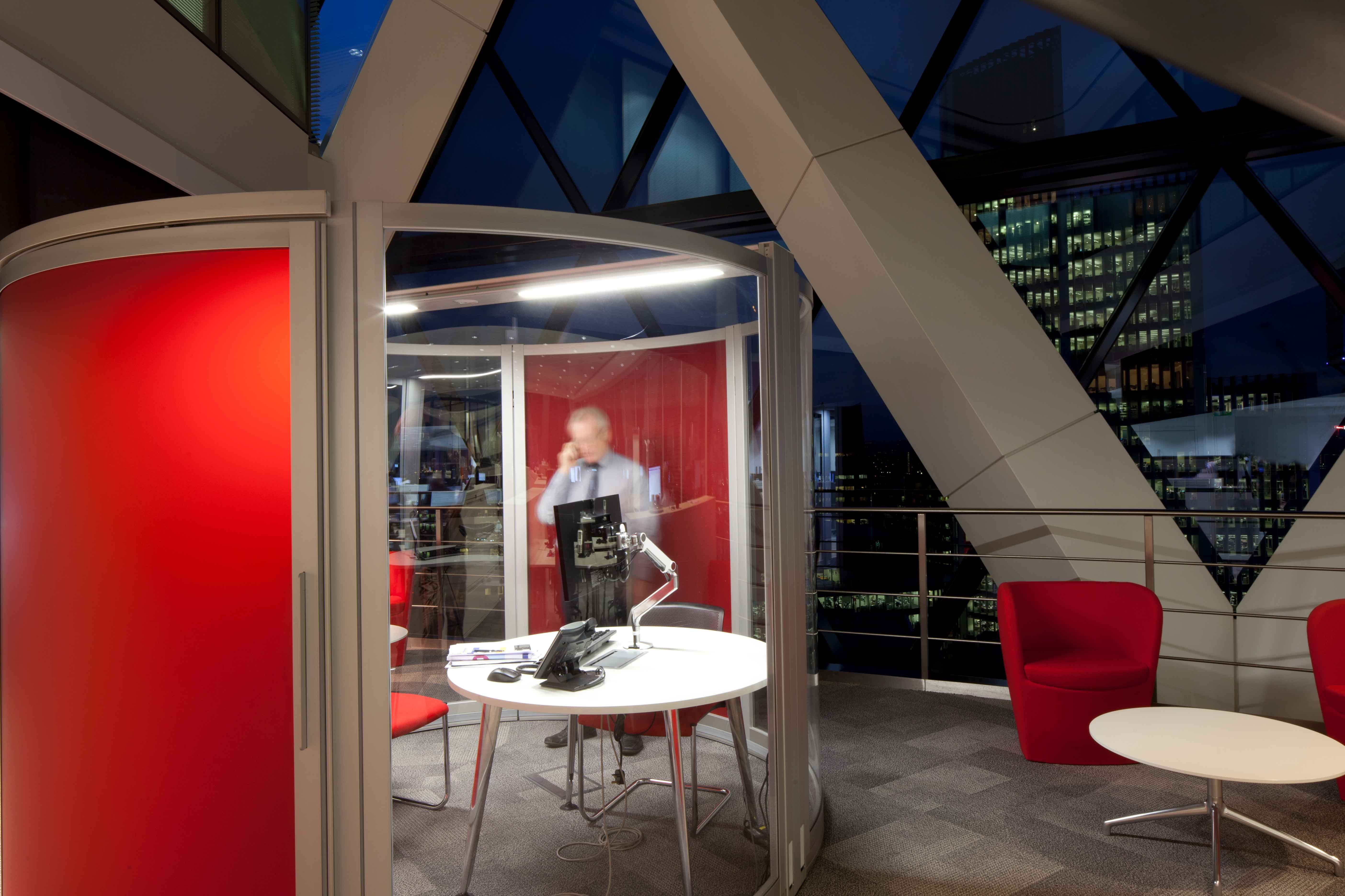 Semi-Private Meeting Booth | In more fit-out work at 'The Gherkin' for MLA, Level 14 was refurbished to accommodate approximately 180 staff in stunning open plan office accommodation retaining, but refurbishing, a majority of the existing cellular accommodation whilst Level 34 provides a high quality, multi functional meeting room and hospitality suite.