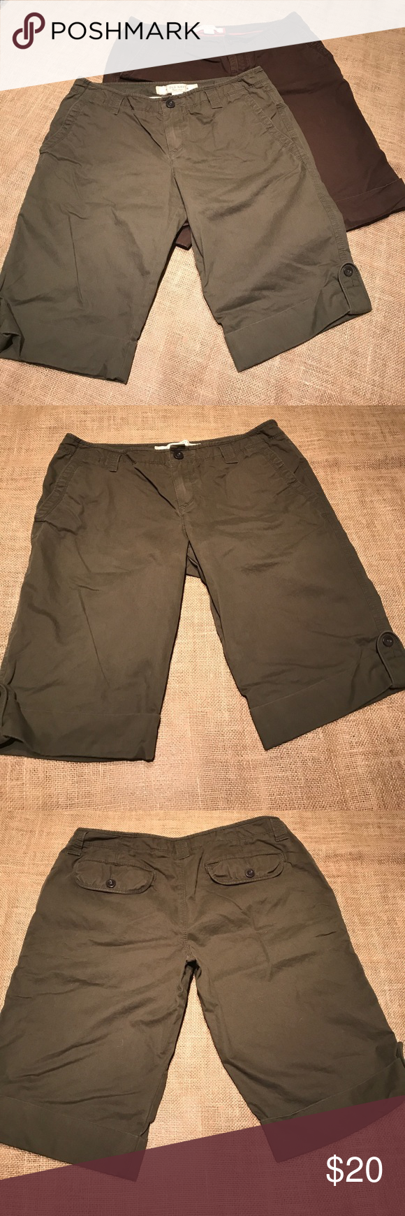 Old navy low rise Bermuda shorts Size 6. Listing is for both pairs of old navy lowrise Bermuda shorts. Colors are brown and olive. Get ready for next summer early. EUC. Old Navy Shorts Bermudas