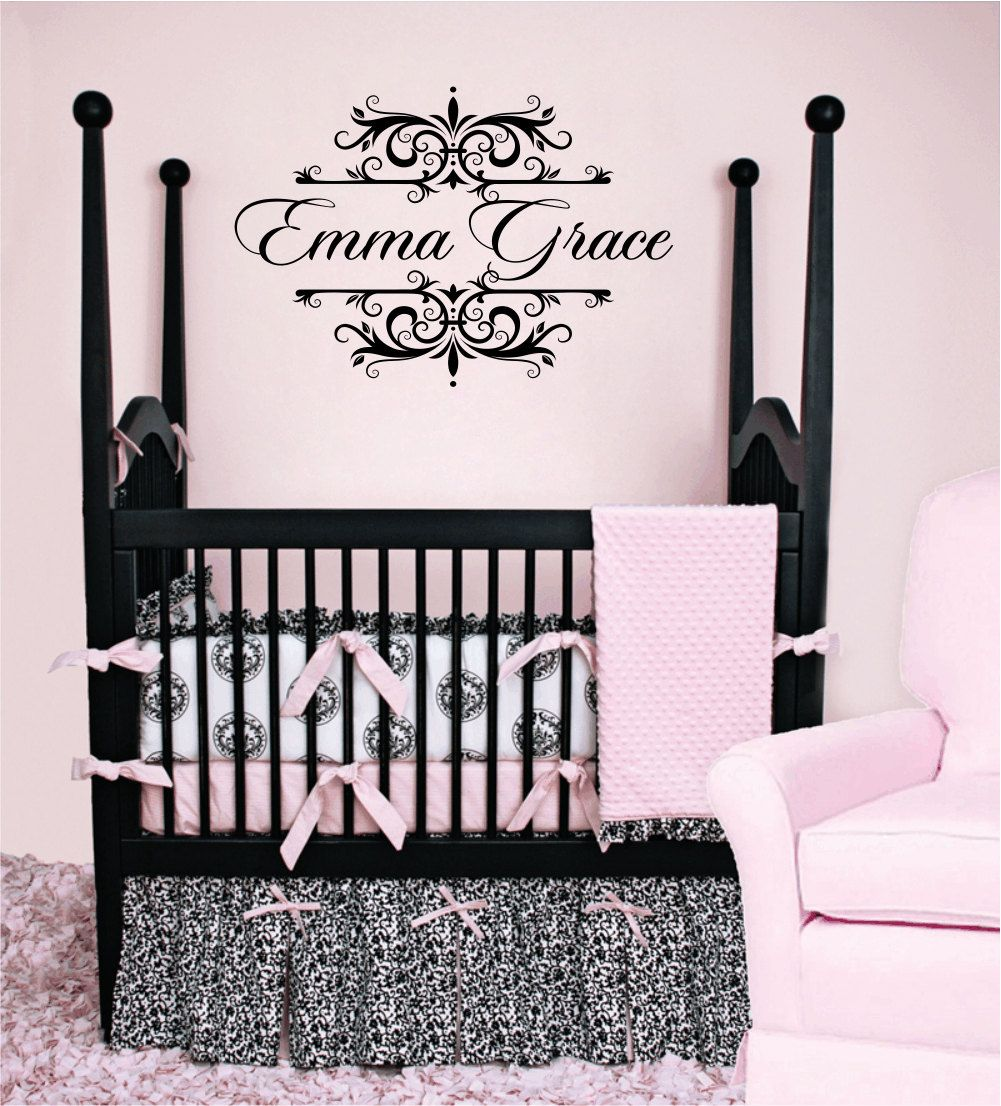Personalized Name Vinyl Wall Decal Shabby Chic Damask Border - Monogram vinyl wall decals for girls