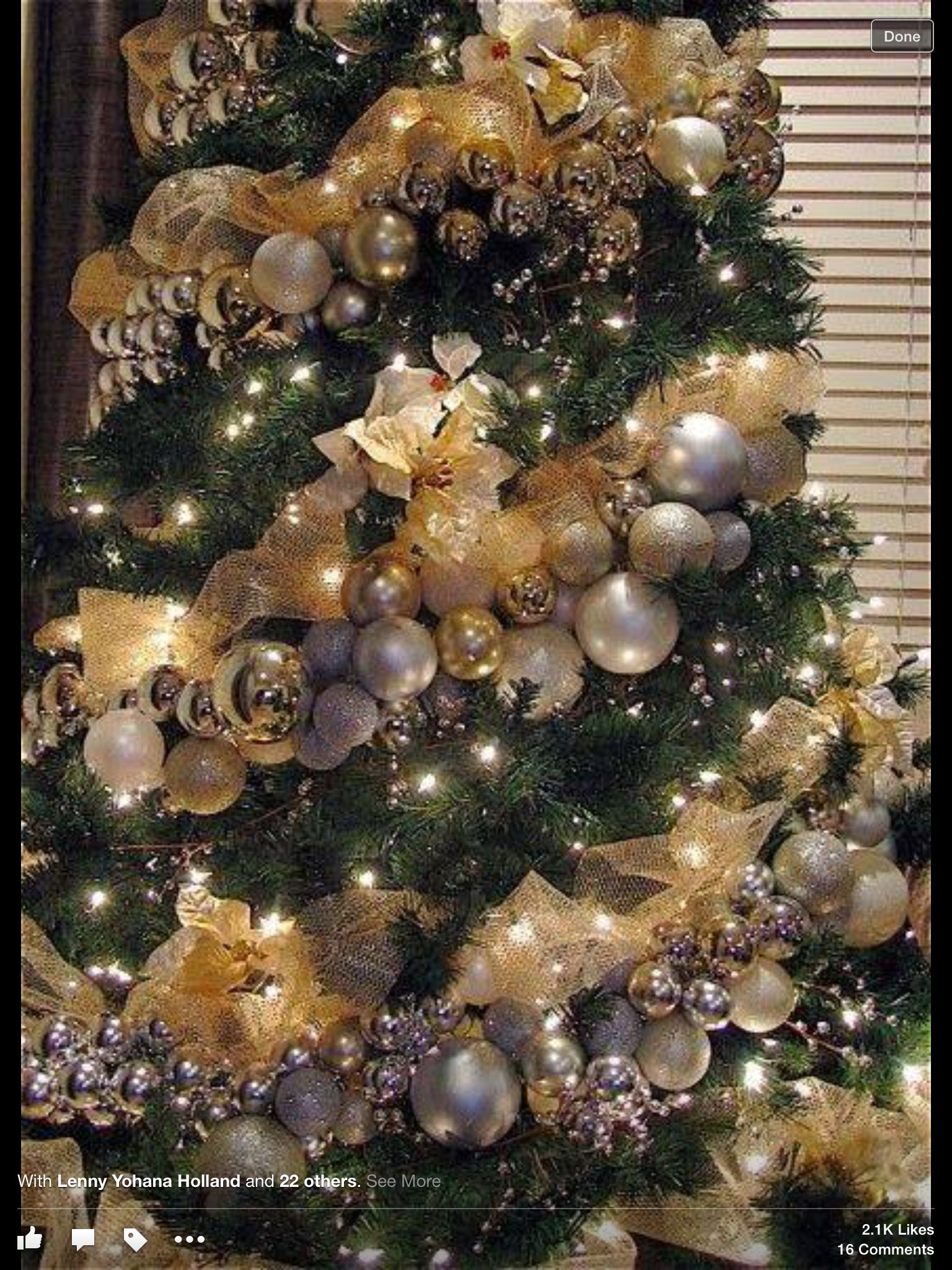 Ornament Garland Wrapped Around Tree Gold Christmas Tree