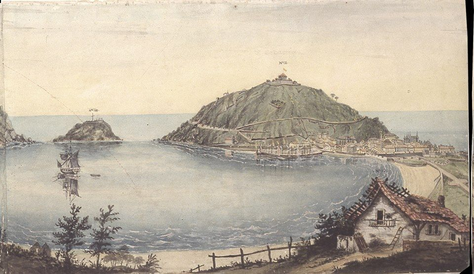 Thomas Staunton St. Clair (1785 – 1846). Panorámica de San Sebastián. (Fragmento). Acuarela de casi tres metros de largo, dividida en seis partes. Museo Zumalakarregi, Ormaíztegui.