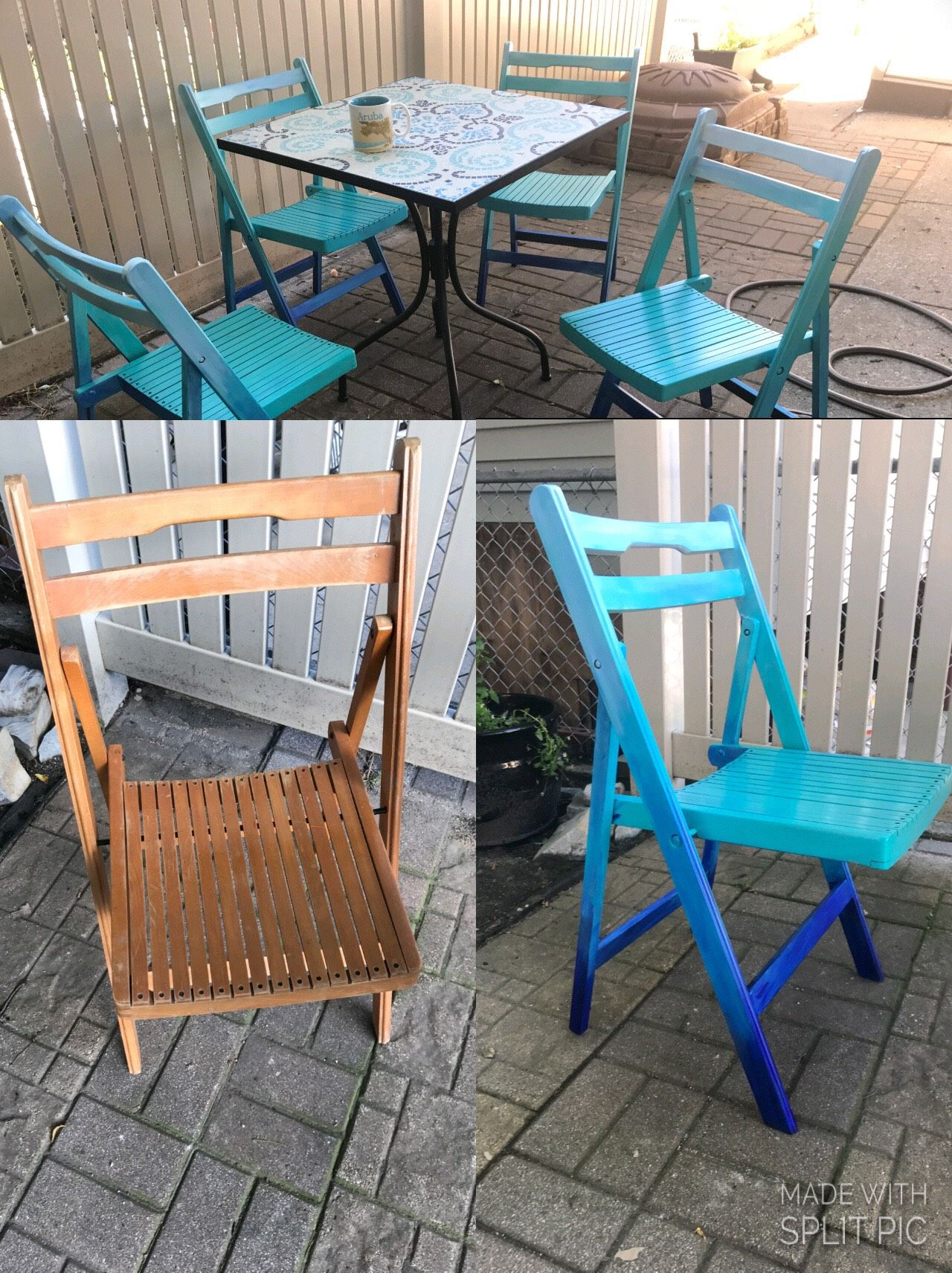 Ombre Patio Furniture Teal Turquoise To Royal Blue Outdoor Chairs Furniture Home Decor