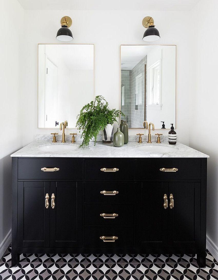 41++ White bathroom black cabinets model