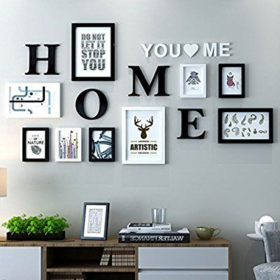 Dekorrahmen Fotorahmen Sets, Wohnzimmer Fotowand Mit Einer Uhr