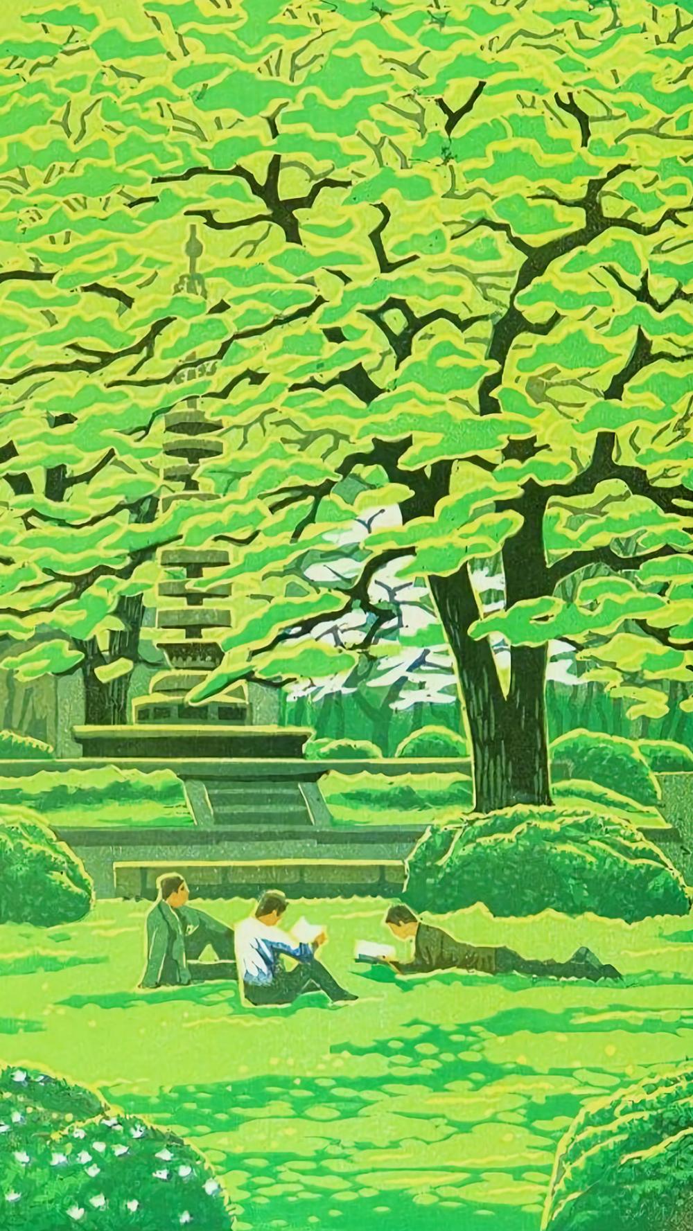 笠松紫浪 学園の春 壁紙 木版画 建築パース