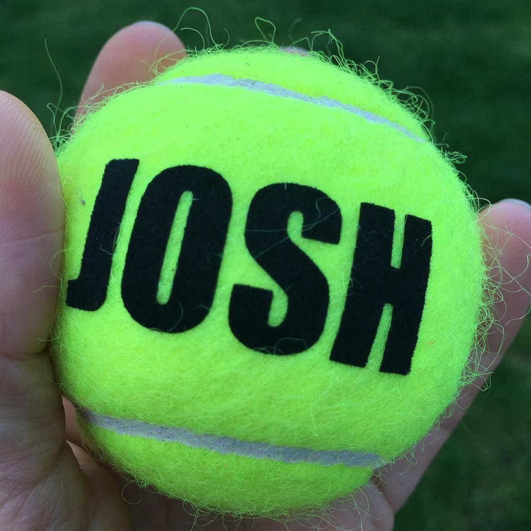 8ee2e7377 Trying out custom names on tennis balls - great for that first win, first  Ace