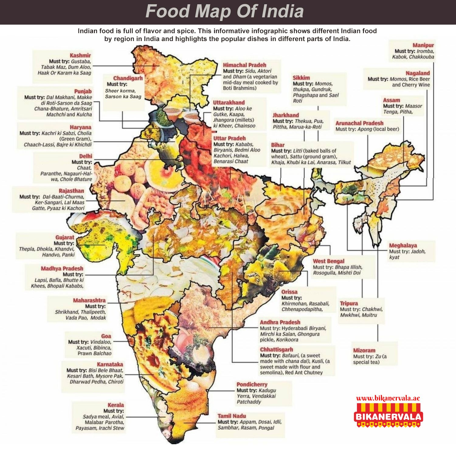 Food Map Of India Bikanervala Indian Food Is Full Of Flavor And