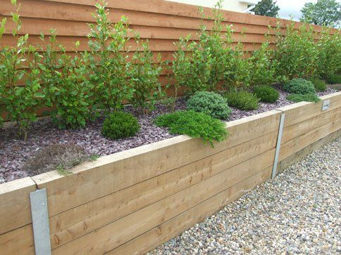 rail sleepers wall - Google Search | English | Pinterest | Sleeper on concrete raised garden beds designs, brick and concrete center designs, concrete raised flower bed designs, raised bed vegetable garden designs,