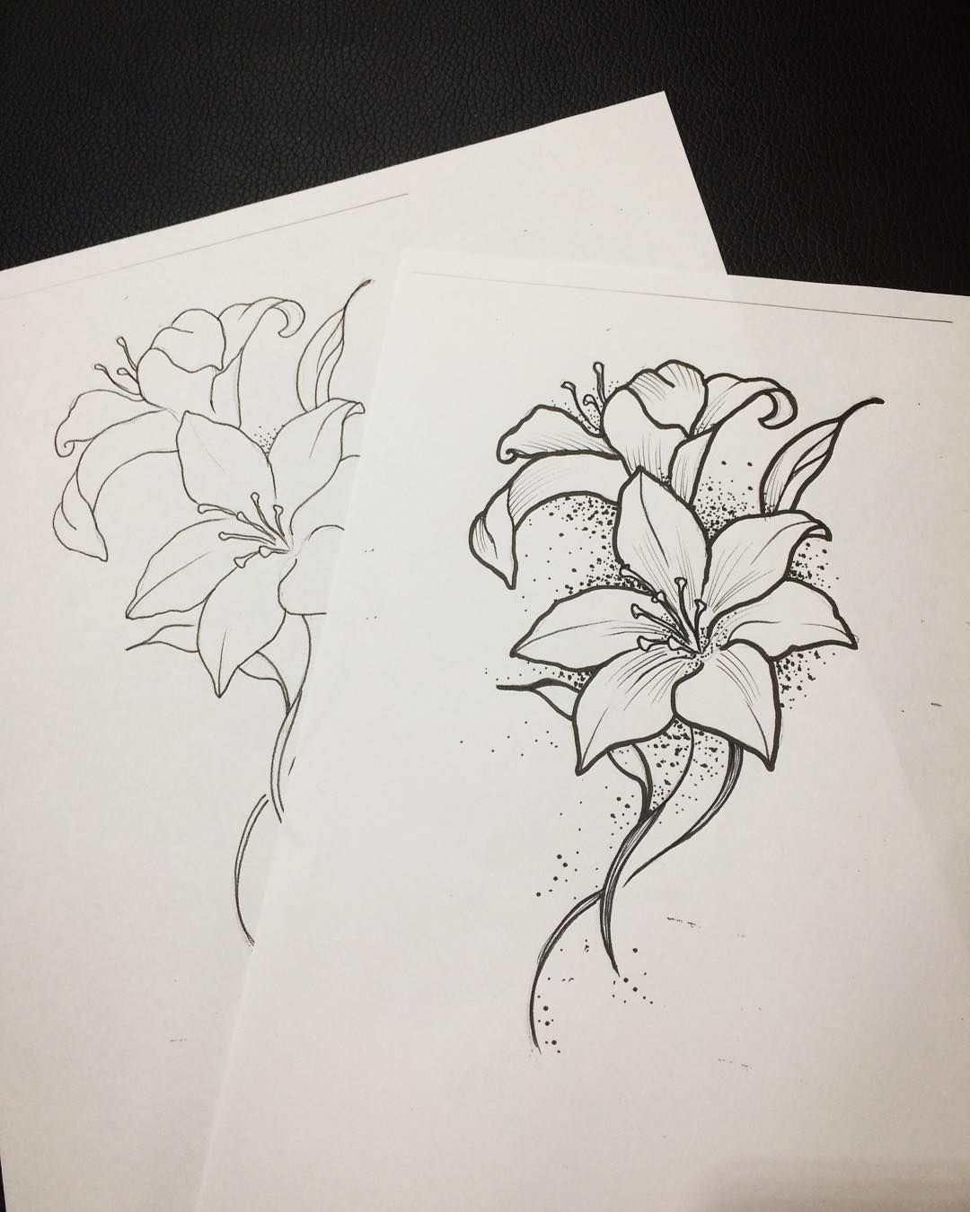 Drawing Sketch Lily Flower Ink Pen Tattoo Tattoosketch