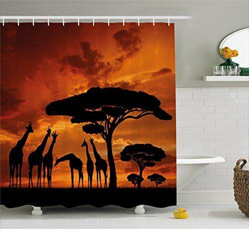 Bathroom Rugs Ideas Wildlife Decor Shower Curtain By Ambesonne Safari With Giraffe Crew With Majestic Tree At Sunrise In Kenya Fabric Bathroom Decor Set