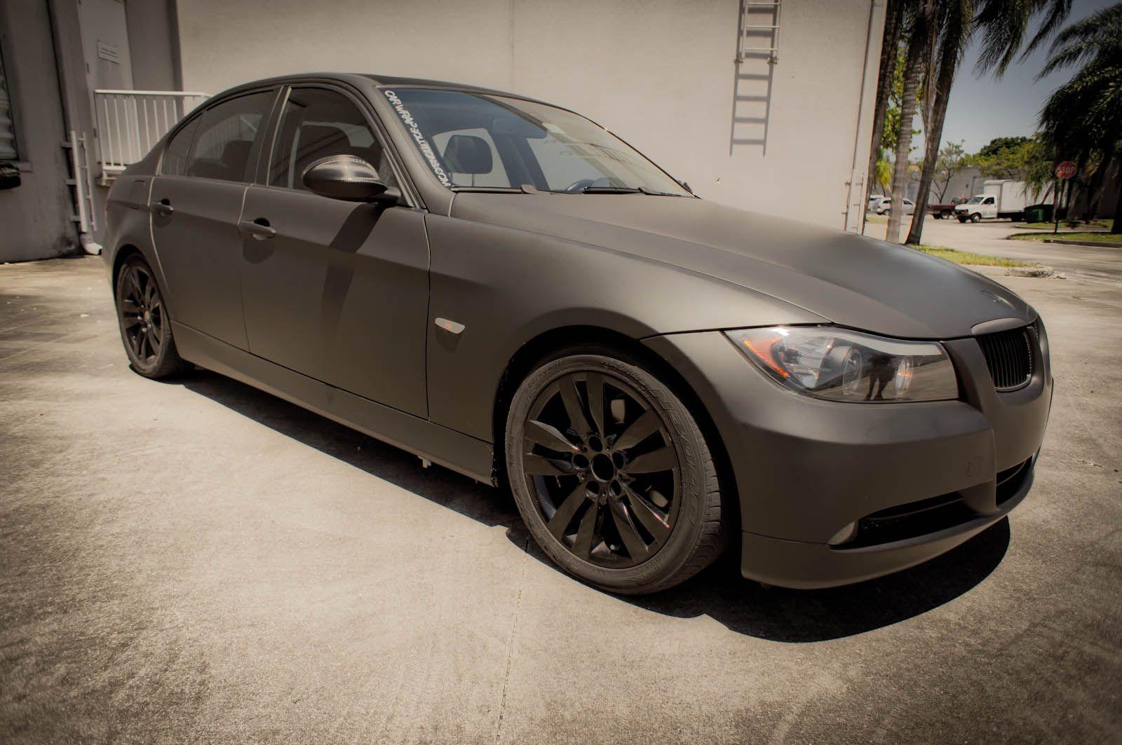 Matte black bmw 3 series car wrap boca raton florida http carwrapsolutions