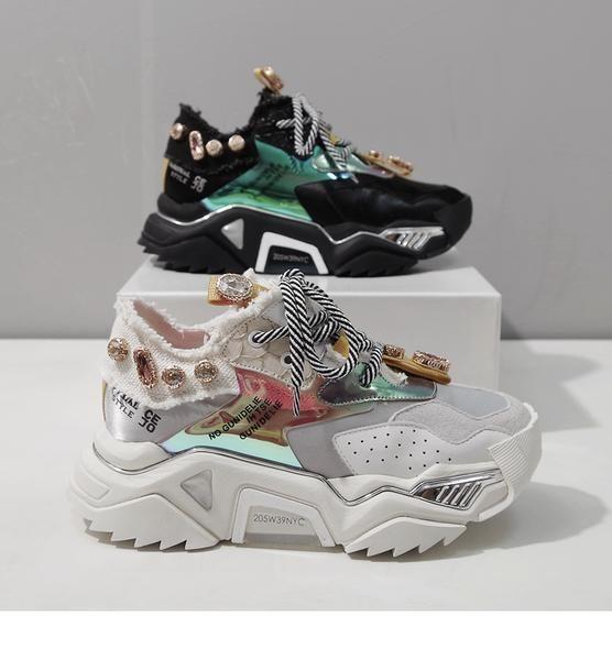 Ashen opar rhinestone chunky platform leather sneaker