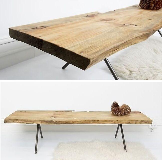 natural wood table bench