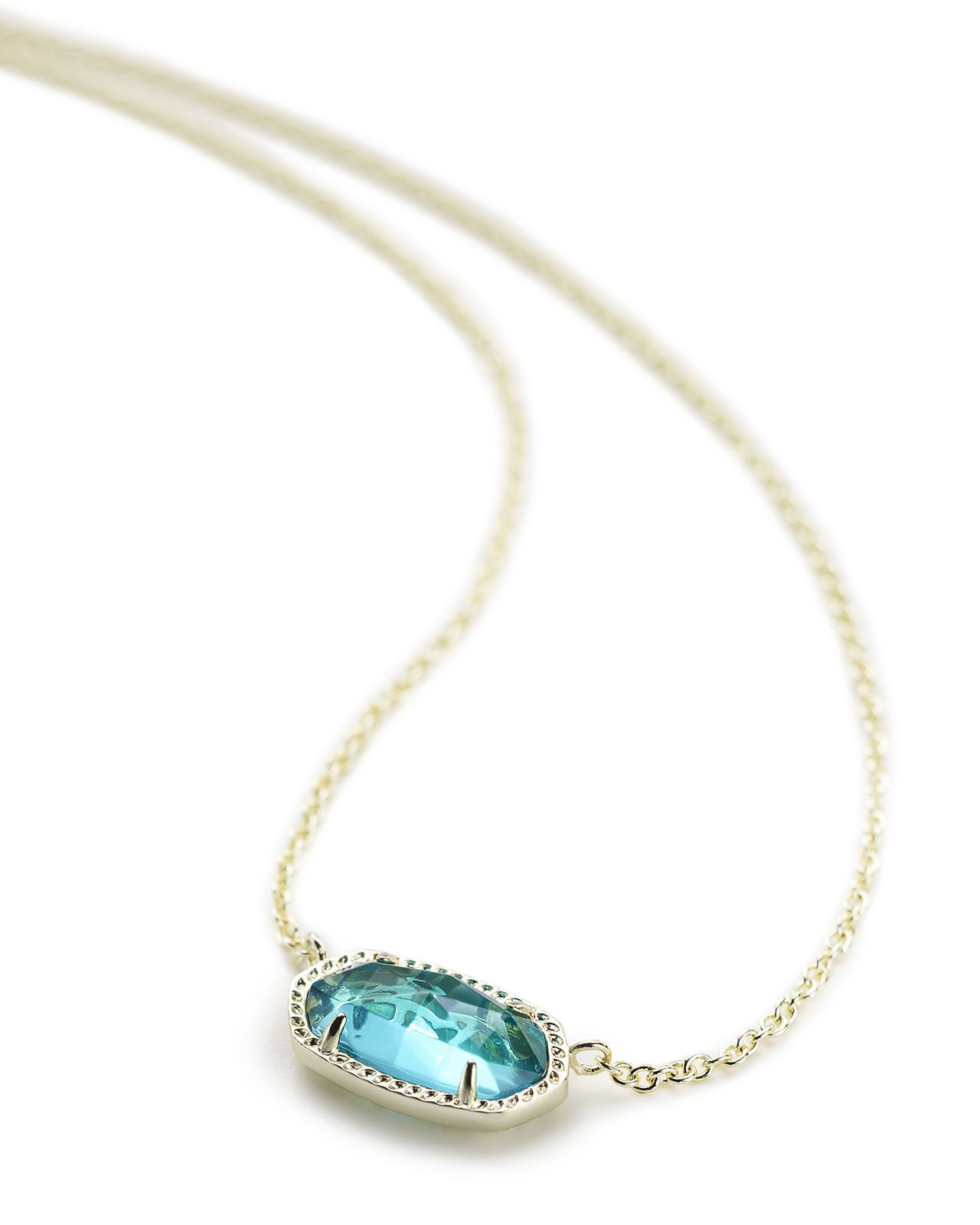 Kendra scott elisa oval pendant necklace in london blue glass and