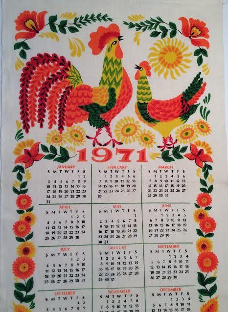 Vintage 1971 Calendar Wall Hanging 70 S Calendar Kitchen Wall
