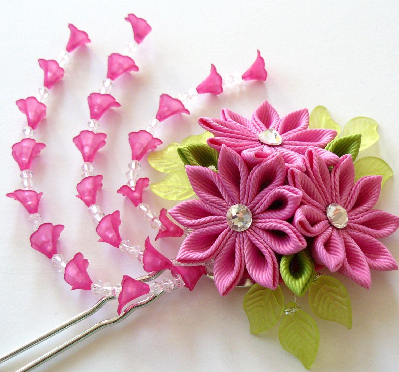 Pink Kanzashi fabric flower hair fork. Pink kanzashi by JuLVa