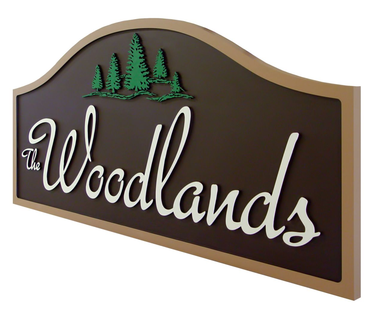 carved sign for woodlands entrance main entry signs for