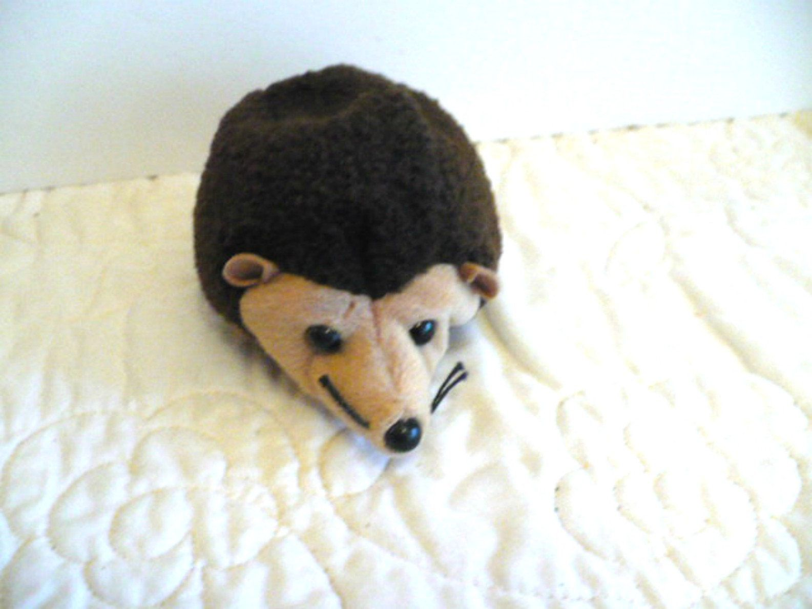 Hedgehog Stuffed Animal Brown And Tan Soft Kids Toy Ty Etsy Baby Beanie Nature Party Animals [ 1189 x 1585 Pixel ]