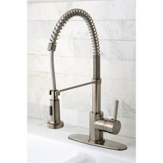 Modern Satin Nickel Spiral Pulldown Kitchen Faucet Overstock Com