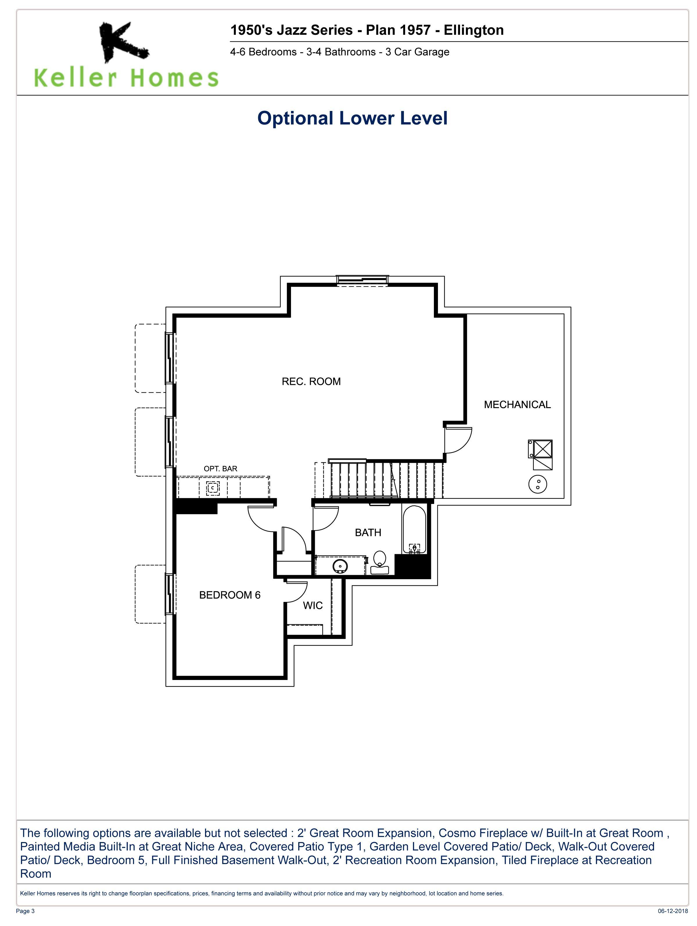 The Ellington Optional Finished Lower Level Floorplan Subject To Change Without Notice Floor Plans Ellington Room Expansion